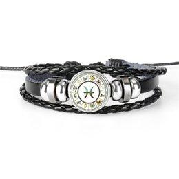 $enCountryForm.capitalKeyWord Australia - Hot Promotion Discount 12 Constellations Zodiac Pisces Time Gem Glass Cabochon Jewelry Silver Beads Leather Rope Bracelet For Women Men Gift