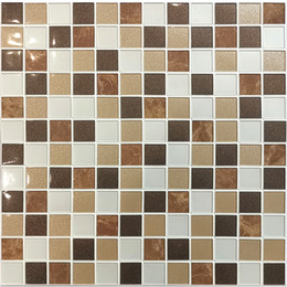 Mosaics For Kitchens Australia - 10Pcs Per Pack Decorative PVC Wall Sticker Mosaic Tile in Brown Mix for Simple DIY Interior Wall,Backsplash,Kitchen,Bathroom