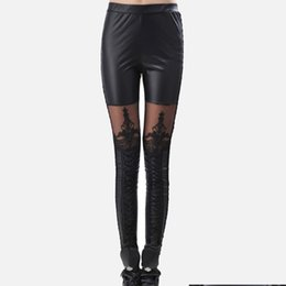faux leggings Australia - Women's Sexy Lace Skinny Leg Faux Pant Leather Leggings Black Legins For Female 2019 Punk Gothic Fashion Ladies Pants Clothing