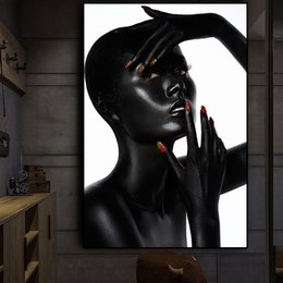 $enCountryForm.capitalKeyWord NZ - Sexy Black African Nude Woma and Red Nails Oil Painting on Canvas Cuadros Posters and Prints Wall Art Picture No Framed
