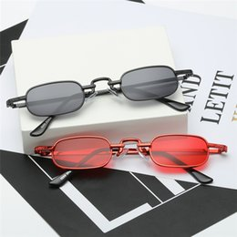eye frame styles UK - 14 styles Vintage Small Square Punk Sunglasses Women Retro Steampunk Sun Glasses Men Brand Designer Red Lens Metal Rectangle Sunglas bldz006