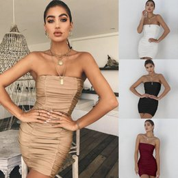 sexy tube white dress Australia - Womens Dress Luxury Solid Color Tube Top Sexy Designer Party Dresses Casual Creased Pattern Clothes Summer New 4 Colors