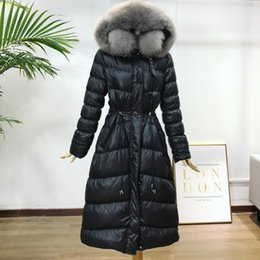 Wholesale new women coat models resale online - Winter Down Coat Women Long Big Fur Collar Slim Fashion White Duck Down Jacket New Explosion Models Parkas Overcoat