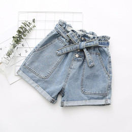 roll up jeans Australia - Nice New Women Summer High Waist Denim Shorts Casual Loose Ladies Fashion Roll Up Hem Elastic Waist Pocket Short Jeans Female
