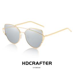183d3db055380 Fashion Vintage Ladies Cat Eye Sunglasses Women Polarized Brand Designer  Rose Gold Twin-Beam Mirror Sun Glasses For Female