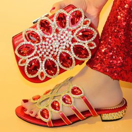 Women Silver Shoes Kitten Heel Australia - Gorgeous red women sandals with rhinestone and big crystal african shoes match handbag set for dress V0741, heel 3.8CM