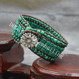 Discount easter tubes 10pcs Handmade Vintage Round and Tube Shape Synthetic Crystal Green Malachite Stone Beaded Wax Leather Wrap Romantic Bra