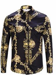 Sleeve Chain Australia - Fashion Designer Golden Chain Print Vintage Mens Shirts Designer Lapel Neck Long Sleeve Luxury Tops Men Casual Tees