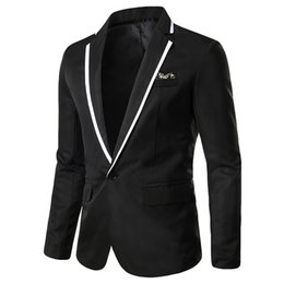 $enCountryForm.capitalKeyWord Australia - Men's Suit Jacket Solid Dress One-Button Notched Lapel Slim Fit White Stripe Pocket Mens Blazer Wedding Fitted Dress 7.8