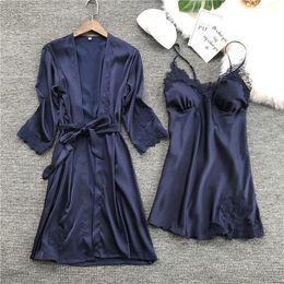 $enCountryForm.capitalKeyWord NZ - New Women Ladies Sexy Satin Silk Night Dress Bathrobe Nightgown Sets 2019 Kimono Lingerie Nightwear Sleepwear Robe De Nuit Femme
