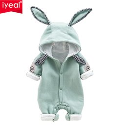 cute baby boy rompers Australia - IYEAL Newest Cute Rabbit Ears Hooded Baby Rompers For Babies Boys Girls Clothes Newborn Clothing Infant Jumpsuit Baby OutfitMX190912