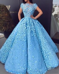 zuhair murad flower dress Canada - Zuhair Murad Dresses Evening Wear 2019 Bateau Neck Short Sleeves robes de soirée prom dresses with 3D aplpliques