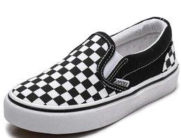 Venta al por mayor de Zapatos de niño para la muchacha patín de los niños zapato de lona de las zapatillas de deporte 2019 Boy niños Zapatos niños del otoño zapatillas de deporte de los muchachos de las muchachas de la tela escocesa