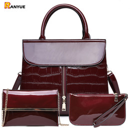 $enCountryForm.capitalKeyWord NZ - 3pcs Luxury Patent Leather Handbags Women Bags Designer Brand Famous Tote+female Shoulder Crossbody Bags+clutch Purse Bag Sets Y19061301