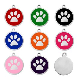 diy pet id tags UK - Dog Tag Round Shape Paw design Metal Blank Pet Dog ID Card Tags Circle pendants for small Dogs and Cats Dog Supplies DIY