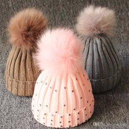 $enCountryForm.capitalKeyWord Australia - Baby Knitted Diamonds Hats Fur Pom Pom Beanie Shinning Bling Bling Bobble Crochet Caps Winter Infant Kids Boy Girl Designer Accessories