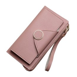 Lanyard Zipper UK - 2018 New Fashion Women Long Wallets Zipper Lanyard Purse Girls PU Leather Double Layer Wallet LBY2018