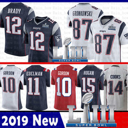 China 12 Tom Brady New 87 Rob Gronkowski Patriot Jersey 11 Julian Edelman 10 Josh Gordon 15 Hogan Amendola Harrison 14 Cooks 2019 Super Bowl LIII cheap super toms suppliers