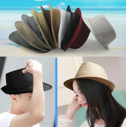cotton stingy brim fedoras NZ - Fashion Vogue Men Women Cotton Linen Straw Hats Soft Fedora Panama Hats Outdoor Stingy Brim Caps 7 Colors Choose