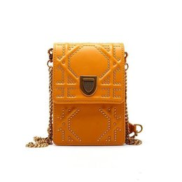 $enCountryForm.capitalKeyWord NZ - Cell Phone Leather Messenger Bags For Women Summber Yellow Luxury Handbags Women Bags Designer Rivet Chains Shoulder Bags