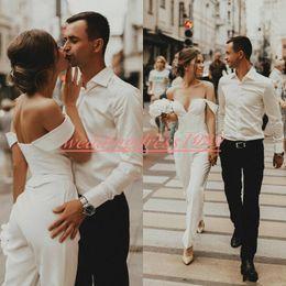 Jumpsuits for beach online shopping - New Designer Jumpsuits Wedding Dresses Off Shoulder Satin Spring Beach Mariage Arabic Plus Size Bridal Ball Gown For Bride robe de mariée