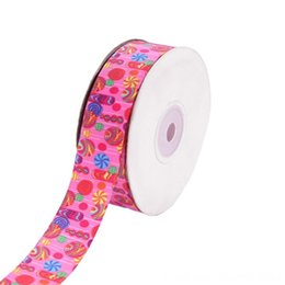 multi colored hair bows UK - 20 Yards Grosgrain Ribbon Cartoon Easter Eggs Rainbow Colorful Lollipop Printed Accessories for DIY Hair Bows Crafts Fabric Clothing Fabric