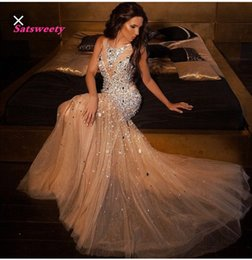 $enCountryForm.capitalKeyWord NZ - Luxury Champagne Crystal Mermaid Prom Dresses Dubai Abiye Long Beaded Evening Gowns 2019 Formal Dress Vestido De Festa Longo