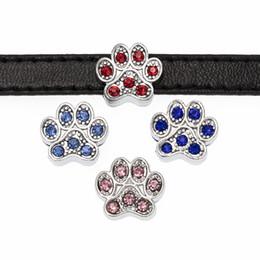 8mm sliding charms online shopping - 20pcs mm crystal paw print colorful Slide DIY Charm for mm wristband belts bracelet