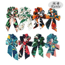 $enCountryForm.capitalKeyWord UK - Fashion Flower Print Chiffon Scrunchie Elastic Hair Band Bow Hair Ropes Ladies Head Band Girls Hair Ties Women Accessories