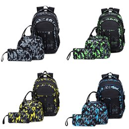 picnic backpack wholesale Australia - 3PC Set Camouflage Backpack Printed Camping Bag Picnic Beer Waterproof Lunch Box Bag Outdoor Sports Camping Hiking Storage Bags