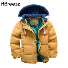 down parkas for kids NZ - Abreeze children Down & Parkas 4-10T winter kids outerwear boys casual warm hooded jacket for boys solid boys warm coats SH190910