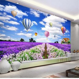 balloon printing 2021 - 3d photo wallpaper custom size mural living room lavender flower sea balloon scenery 3d picture sofa TV backdrop wall wallpaper wall sticker
