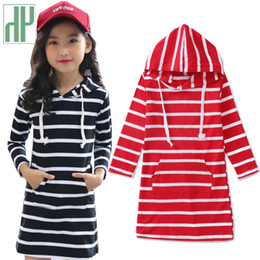 striped dress for girls NZ - Kids dress Casual Striped teen dress for girls 10 12 years long sleeve princess party dress girls Children Clothing Vestidos CY200514