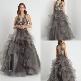 $enCountryForm.capitalKeyWord Australia - 2019 Sexy Grey Organza Ruffles Prom Dresses Backless Floor Length Party Gowns A Line Evening Dress Sequins Lace Appliques Prom Gowns