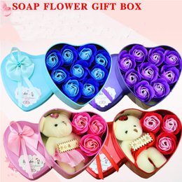 $enCountryForm.capitalKeyWord Australia - 50pcs Soap Flower Bear Doll Heart Box For Romantic Valentine Day Gift Home Decoration Arts And Crafts Multi Colour
