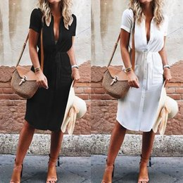 Black White Casual Button Short Sleeve NZ - Summer Casual Women Dress Short Sleeve Blouse Solid Black White Button Square Neck Loose Long Shirt Dress Women Sundress