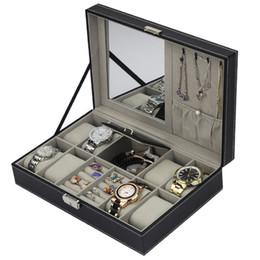 $enCountryForm.capitalKeyWord Australia - PU Leather Watch Box Jewelry Case Multifunctional Storage Box Organizer for Earrings Ring Bracelet Watch Jewelry Display Holder
