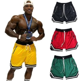 gym apparel UK - Mens Gym Fitness Shorts Bodybuilding Run Jogging Workout Male 2018 New Outdoor Wear Athletic & Outdoor Apparel Knee Length Summer Cool Breat