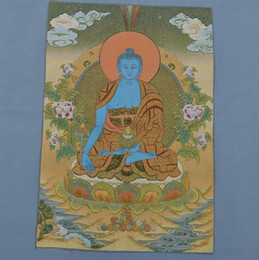 car master NZ - Factory Direct Brocade Painting Silk Exquisite Embroidery Painting Tibetan Buddha Thangka Tangka Tantric Medicine Master Buddha
