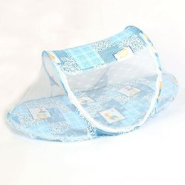 girls toddler bedding UK - Foldable Toddler Kids Infant Baby Safty Cribting Nursery Bedding Mosquito Net Netting Crib Bed Playpen Play Tent Blue