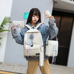 Backpack canvas for girl online shopping - 5pcs set Fashion Bow chain Backpack Girl School Backpacks Mochila Backpack School Bags For Teenager Girls Lace Up bag FFA2532
