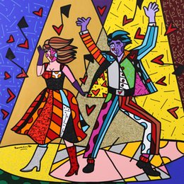 Dance Paintings Australia - Romero Britto Cartoon Abstract Art Happy Dancing,Oil Painting Reproduction High Quality Giclee Print on Canvas Modern Home Art Decor