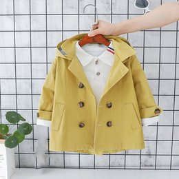 BaBy Boy korean style clothing online shopping - Spring korean style cotton pure color long style all match windbreak coat for fashion baby girls boys clothes