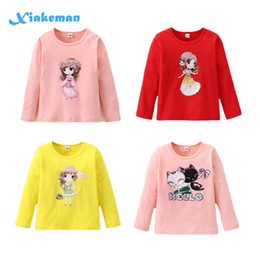 long tops for girls NZ - Cute Girls T-shirt 2019 Long Sleeve Cotton Shirts For Girl Cartoon Kids Tops Children Tees Teenager School Clothing 7style 2-10t Y190516
