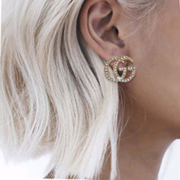 collar de la joyería de diseñador de moda chica de la perla Marca la letra retro pendientes mujeres del perno prisionero del pendiente del anillo pulsera de regalo en venta