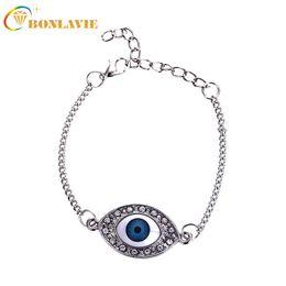1ac6314b5f8 New Hot Vintage Blue Turkey Evil Eye Bracelet Round Girls Charm Bracelets  for Women Silver Plated Link Chain Bracelet
