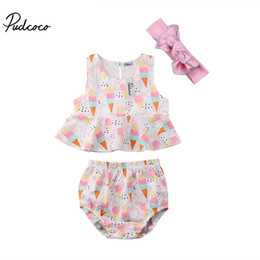 weste sahne großhandel-Pudcoco Ice Cream Printed Neugeborene Baby Kleidung Sets Sleeveless Weste Tops Shorts Briefs Stirnband Outfits Kleidung