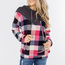 oversized sweatshirts wholesale NZ - Oversized Plaid Hoodies Women Sweatshirt Casual Woman Clothes Long Sleeve Sweatshirts Hoodies Pullover Women Tops Sudadera Mujer