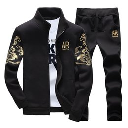 spring tracking Australia - 2020 Men Tracksuit Set 2 Pieces Spring Autumn Slim Outerwear Mens Track Suit Stand Collar Zipper Sweatshirts Jacket + Pants Sets T200628