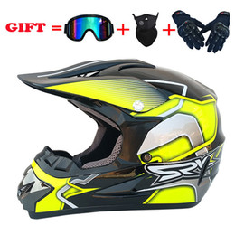 2020 New 4pcs Set Motorcycle Helmet Off Road Motocross Helmet Motorcycle Helmet Offroad Atv Cross Racing Bike Casque With Goggles Mask on Sale